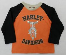 Harley-Davidson Toddler Long Sleeve Orange Raglan Sleeve Shirt 2T