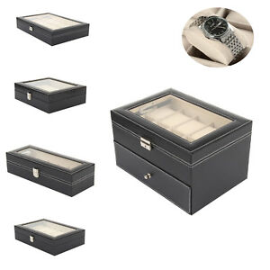 6/12/20/24 Grids Black Watch Box Jewellry Holder Storage Display Leather Case UK