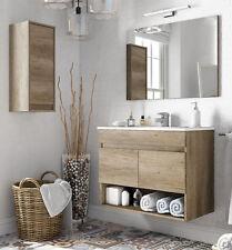 Pack mueble de baño con espejo lavabo de ceramica y armario auxiliar moderno