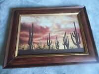 VINTAGE Southwest Landscape Acrylic Painting Framed but not signed