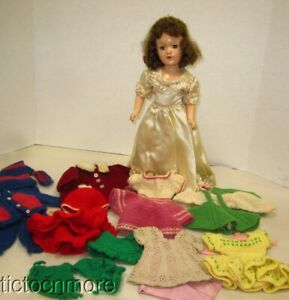 """VINTAGE ORIGINAL MARY HOYER COMPSOITION DOLL BRUNETTE 14"""" w/ KNIT CLOTHES LOT"""