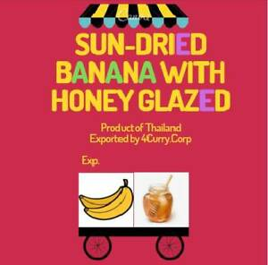 Sun-dried Banana with Honey glazed finished very chewy with natural sweetness.