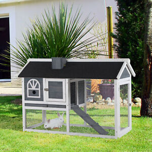 Rabbit Hutch Wood Bunny Cage for Outdoor Indoor w/ Pull Out Tray Run Box Ramp
