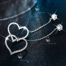 18k white gold GP crystal stud long chain heart earrings dangle 7cm 925 pin