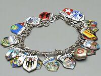 Altes Bettel Armband 800 Silber Wappen Emaille emailliert Schweiz 24 Anhänger