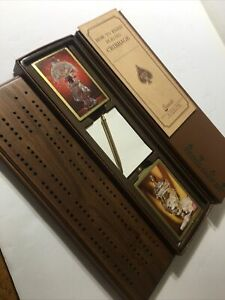 Stancraft Travel Card Kit Cribbage Board w/Airplane Cards (Gold Edged) Complete