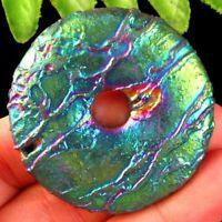 Rainbow Titanium Crystal Agate Druzy Quartz Geode Donut Pendant Bead S29386