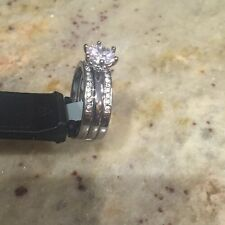 NWT 2 PC Womens Round CZ Sterling Silver Wedding Band Bridal Set Size 10