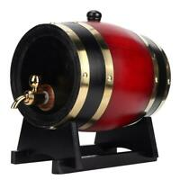 3L Vintage Oak Barrel Wood Wine Keg Bucket Dispenser Home Brewing Equipment Ac T