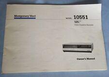 Vintage Montgomery Ward Video Cassette Recorder Model 10551 Owner's Manual
