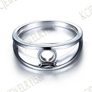 Wedding Generous Band Tension Setting Round 6mm Sterling Silver Semi Mount Ring