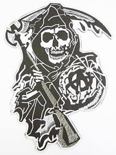 "Demon Reaper Biker Rider MC Motorcycle Big Jumbo Embroidered Back Patch 11.6"""