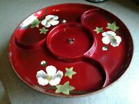 Vintage Divided Lacquerware Lazy Susan Metal Stand Red Floral Turntable Tray