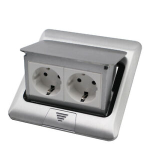 EU Standard Home Use Pop Up Floor 2 Socket Aluminum Electrical Outlet 2 Way