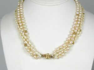 """Estate 14k Yellow Gold Freshwater Pearl Multi Strand Ladies Necklace 63g 19""""L"""
