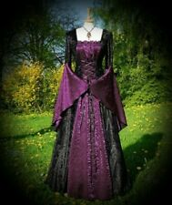 New Black/Plum Gothic Medieval Velvet & Satin Gown Robe Dress size 5XL 20 22 24