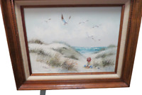 "Original Oil On Canvas Framed Painting Signed Edward Runci Beach Scene 21"" x 17"""