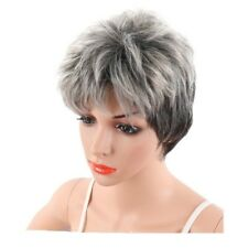 Women Short Grey Pixie Wig Short Curly Hair Synthetic Pixie Wig Cosplay #HA2