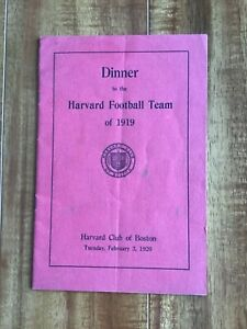 1919 Harvard National Champion Football Celebration Dinner Program from 2/3/1920