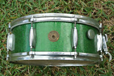 RARE! 50s GRETSCH 3-PLY ORIGINAL GREEN SPARKLE 4157 SNARE DRUM for YOUR SET G965