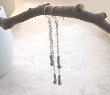 925 Silber lange Ohrringe Kette Hämatit, feine Ohrhänger Sterlingsilber f170