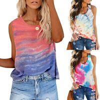 Women's Summer Sunflower Tie-Dye Sleeveless Top V-Neck T-Shirt Casual Tanks Tops