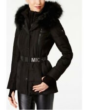 NEW ! NWT MICHAEL KORS Faux-Fur-Trim Hood Belted Puffer Coat in Black Size M