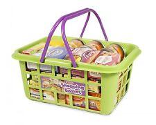 Kids Toy Food Shopping Basket Boxes Tins Cartons Fun Play Pretend Grocery Market