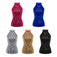 New Shimmer Flashy Sequin Halter Neck Womens Stretch Sleeveless Vest Tank Tops
