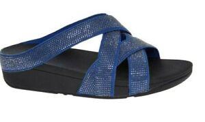 FitFlop Devon Blue Slinky Rokkit Jewelled Slides - UK 7 - New & Boxed