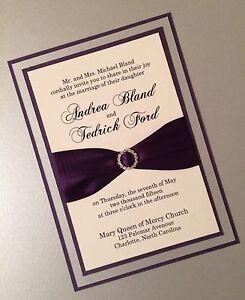 Eggplant, Silver And Cream Layered Wedding Invitation