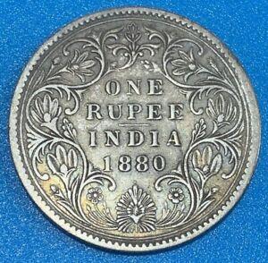 1880 British India 1 Rupee Victoria 0.917 Silver Coin