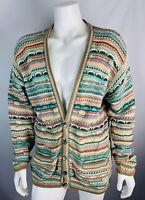 Vintage Coogi Australia Men's Large Cardigan Sweater V Neck 3D Cotton Bill Cosby