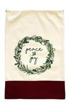 Large Canvas Toy Bag Sack Christmas Santa Peace and Joy Holly-Draw String Reuse