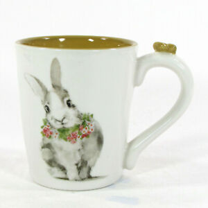 NEW Pier 1 Imports BUNNY PALS 16oz Mug Gold Butterfly Rabbit Flower Easter