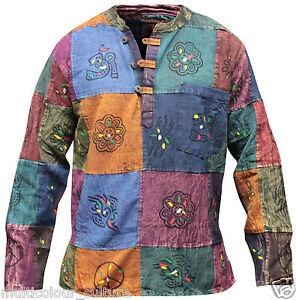 Stonewashed Grandad Festival Shirt With Patchwork,Colourful,Hippie Clothing,Boho