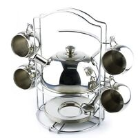 Toy Tea Set 14pcs Stainless Steel Teapot Pretend Play Toy for Kids