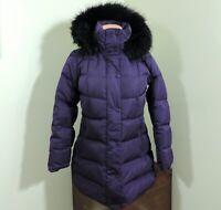 Lands End Goose Down Puffer Jacket Coat Faux Fur Hood Size XS (2-4) Purple