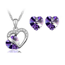 purple Heart Crystal Pendant Necklace Chain and Earrings Wedding Jewellery Set