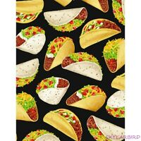 "FQ Timeless Tresurers Tacos on Black Cotton Fabric 18""Lx21""W-BTFQ"