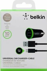 Belkin 10W Universal Car Charger With Micro USB ChargeSync Cable (Black)