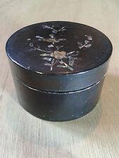 Antique Victorian Papier Mache Mother of Pearl Trinket Storage Jewellery Box Pot