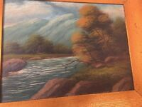 Antique Hudson River School Nature Landscape Painting River Forest Signed Dated