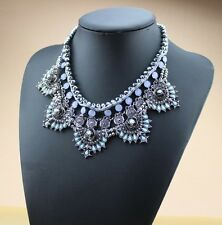 STATEMENT BOHO NECKLACE BLUE WHITE RHINESTONE HIGH STREET FASHION