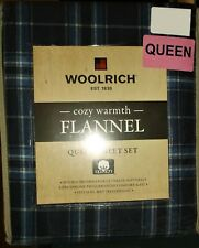 """QUEEN FLANNEL SHEET SET WOOLRICH BLUE PLAID DOUBLE BRUSHED FITS 16"""" HIGH WARM"""