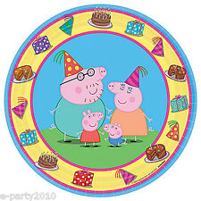 PEPPA PIG SMALL PAPER PLATES (8) ~ Birthday Party Supplies Cake Dessert Cartoon