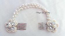 Bridal hair piece accessory, freshwater pearls, Swarovski crystal chains, drapes