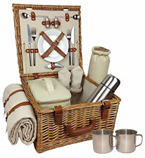 Red Hamper Wicker Willow Deluxe Fully Fitted 2 Person Traditional Picnic Basket