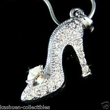 w Swarovski Crystal ~Cinderella Slippers Princess High Heel Shoes Charm Necklace