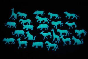 24pc Glow in the Dark Safari Animals Wall Ceiling Decor for Kids Room Nursery